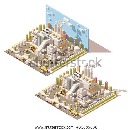 Vector isometric infographic element or icon representing factory with smoking pipes, trucks and forklifts on the yard and other industrial facilities - stock vector