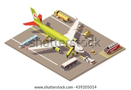 Vector Isometric infographic element or icon representing low poly airport apron area, jet airplane, ground support vehicles and equipment - stock vector