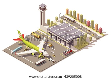 Vector Isometric infographic element or icon representing low poly airport terminal, jet airplane, ground support vehicles, equipment and traffic control tower - stock vector