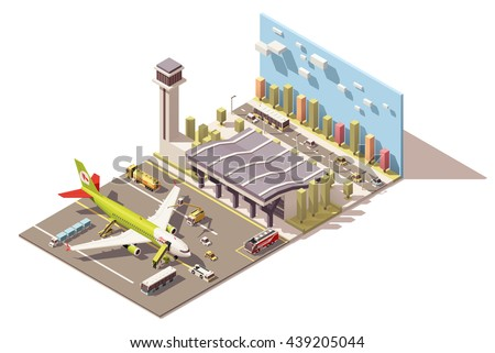 Vector Isometric infographic element or icon representing low poly airport terminal, jet airplane, ground support vehicles and traffic control tower