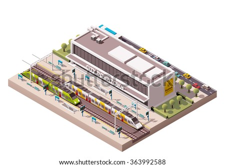 Vector isometric infographic element or icon representing low poly public train station building with trains, platform, and related infrastructure - stock vector