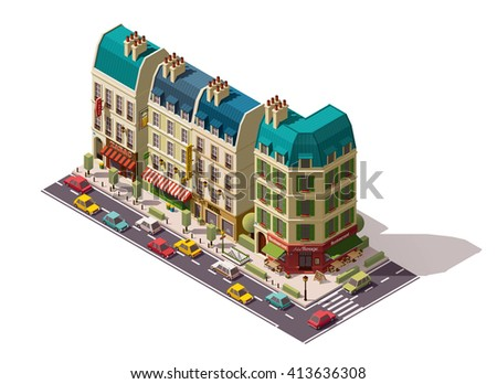 Vector isometric infographic element or icon representing Paris, France, street with cars,  old buildings, shops, restaurant and hotel - stock vector
