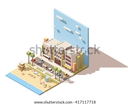 Vector Isometric infographic element or icon representing sea beach with life guard tower near the small town street with old buildings - stock vector