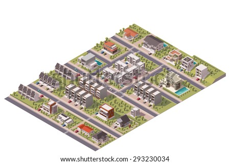 Vector isometric infographic element representing map of the small town or suburb with buildings and streets - stock vector