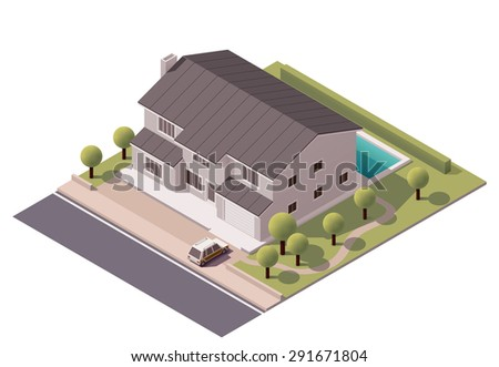 Vector isometric infographic element representing suburban building with backyard pool