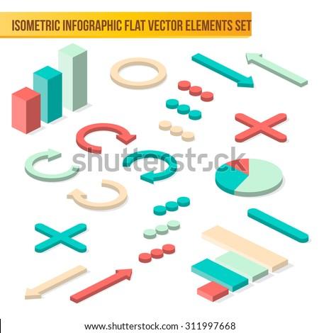 Vector isometric infographic elements. Flat isometric infographic arrows and graphs with shadows - stock vector