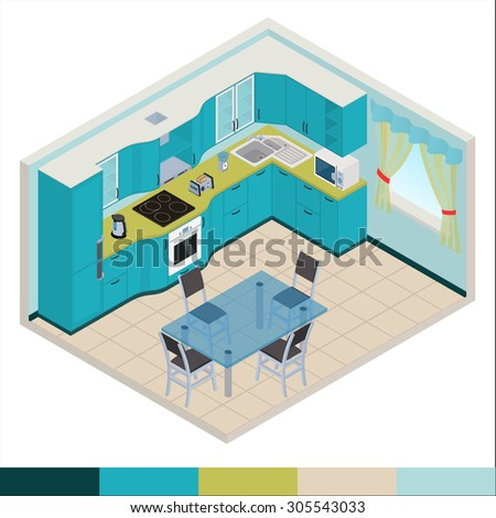 Vector isometric kitchen blue color interior - 3D illustration