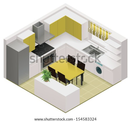 Vector isometric kitchen icon - stock vector