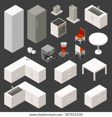 Vector isometric kitchen set
