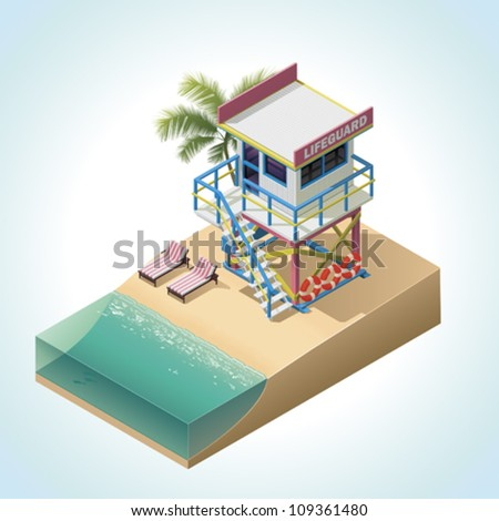 Vector isometric lifeguard tower - stock vector