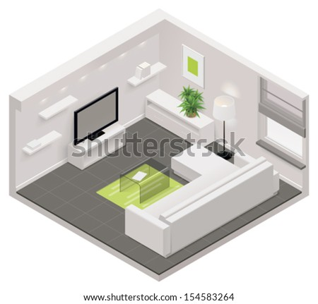 Vector isometric living room icon - stock vector