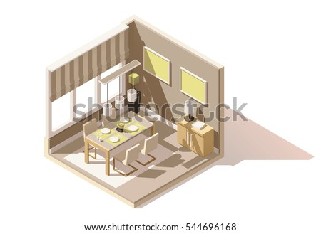 Vector isometric low poly dining room cutaway icon. Room includes table, chairs, other furniture and lamps