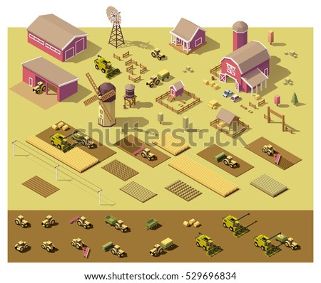 Vector isometric low poly farm elements. Farm buildings, vehicles, fields with plants, fences and other elements
