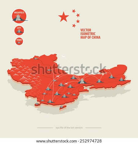 Vector isometric map of China with icons of the city, roads and routes of airplanes - stock vector