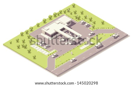 Vector isometric modern petrol filling station building near the highway - stock vector