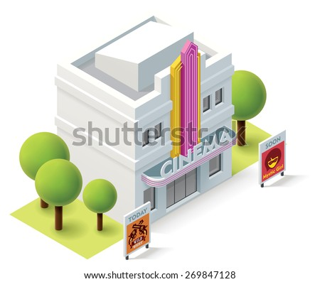Vector isometric movie theater building icon - stock vector