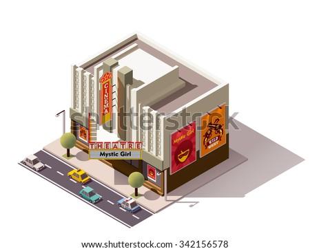 Vector isometric movie theater building icon - stock vector