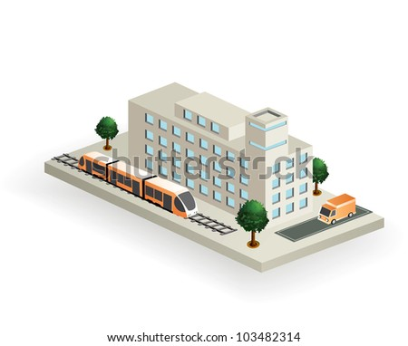 Vector isometric part of the landscape to transport - stock vector