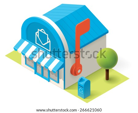 Vector isometric post office building icon - stock vector