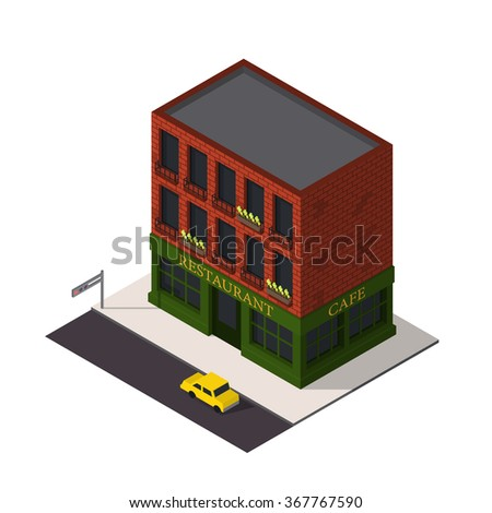 Vector isometric restaurant building icon. Cafe 3d model.