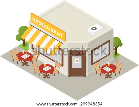 Vector isometric restaurant cafe. Flat building icon - stock vector