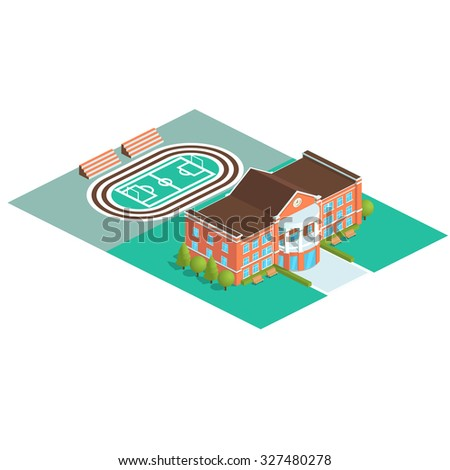 Vector isometric school or university building icon with stadium isolated on white background. Modern flat design. Vector illustration for web banners and website info graphics. - stock vector