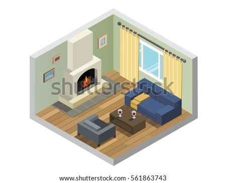 Vector isometric set of living room furniture, romantic decoration,  fireplace, windows, cosy interior design, 3d flat objects, winter holidays concept.