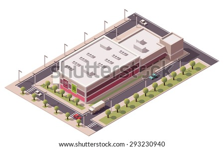Vector isometric shopping mall building icon - stock vector