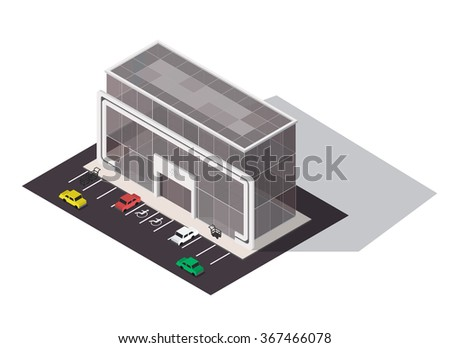 Vector isometric shopping mall building icon. Store 3d model. - stock vector