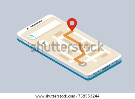 Vector Isometric smartphone with map navigation. Flat style