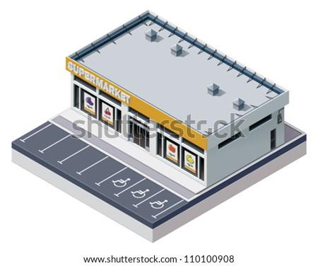 Vector isometric supermarket building - stock vector
