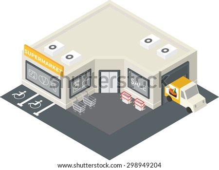 Vector isometric supermarket store shopping building icon. - stock vector