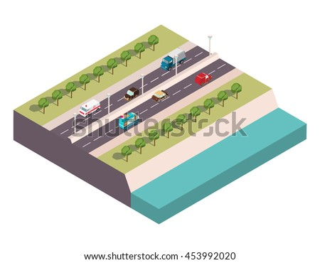 Vector isometric the highway at the river with cars a van with ice cream, ambulance, a sedan, the truck and others for infographics and cards