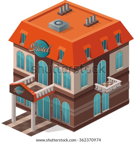 Vector isometric view of the hotel building - stock vector