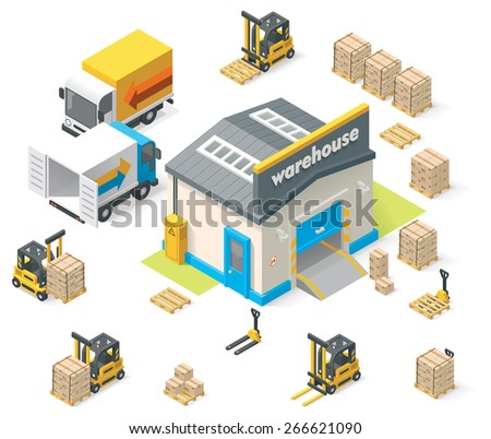 Vector isometric warehouse building icon - stock vector