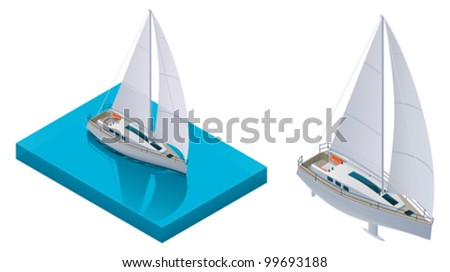 Vector isometric yacht - stock vector