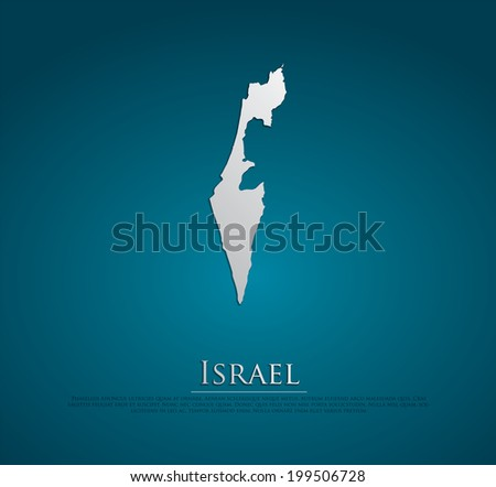 vector Israel Map card paper on blue background, high detailed - stock vector