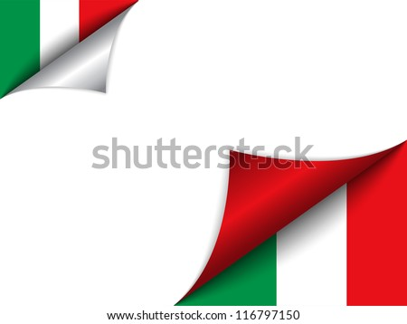 Vector - Italy Country Flag Turning Page - stock vector