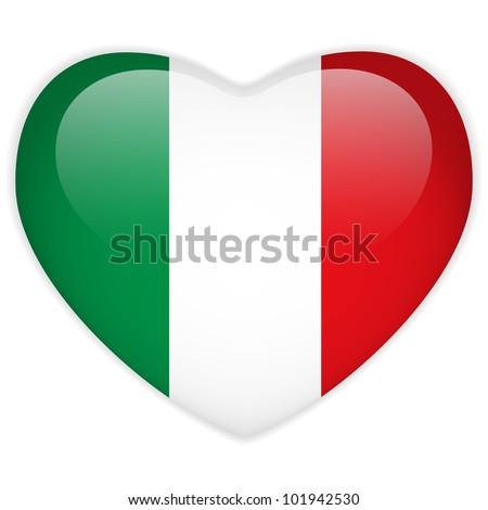 Vector - Italy Flag Heart Glossy Button - stock vector