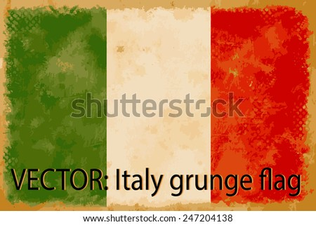 VECTOR: Italy grunge flag on the vintage paper using for background - stock vector