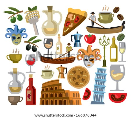 vector italy icons set - stock vector