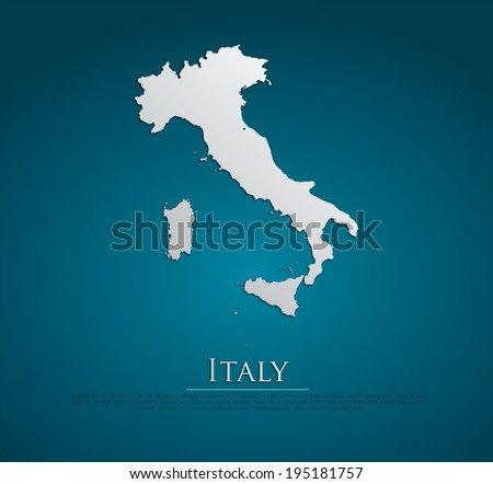 vector Italy Map card paper on blue background, high detailed