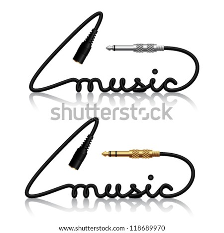 vector jack connectors music calligraphy - stock vector
