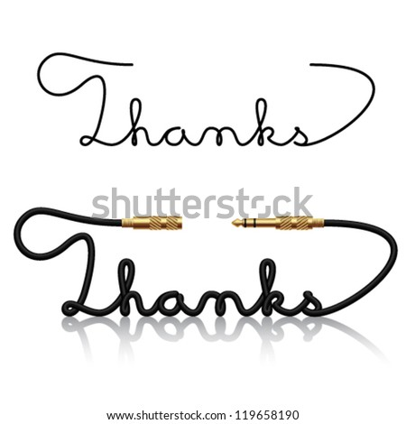 vector jack connectors thanks calligraphy - stock vector