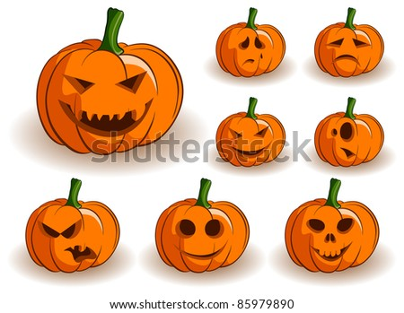 Vector Jack-o-lanterns collection on a white background - stock vector