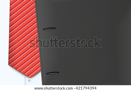 Vector jacket and tie, close-up - stock vector