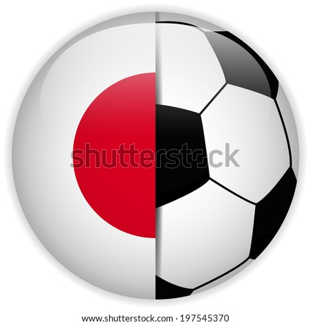 Vector - Japan Flag with Soccer Ball Background