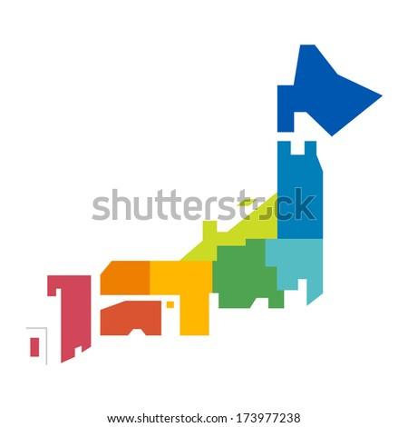 vector japan map - stock vector