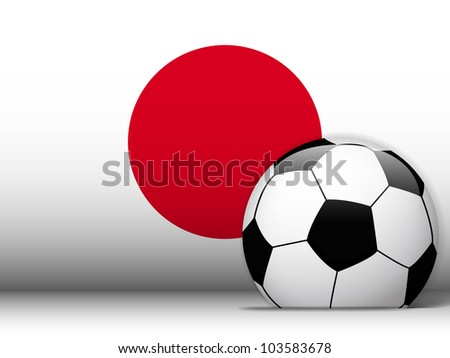 Vector - Japan Soccer Ball with Flag Background