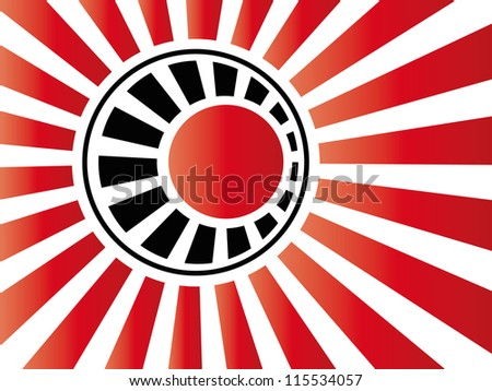 Vector Japanese Floral Logotype in Round Shape on Stripes Background